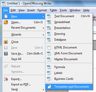 Openoffice training tips and ideas templates instead of being able to access it the way you do with impress you choose file new templates and documents to get it fbccfo Gallery