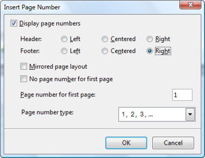 Open Office header on just one page?